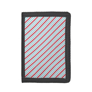 Red, White, and Blue Diagonal Stripes Tri-fold Wallet