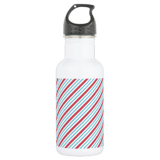Red, White, and Blue Diagonal Stripes Water Bottle