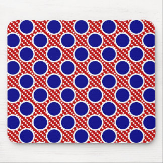 Red White and Blue Double Dots Mouse Pad