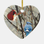 Red, White and Blue Double-Sided Heart Ceramic Christmas Ornament
