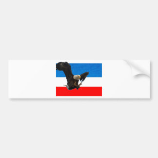 RED WHITE AND BLUE EAGLE LANDING BUMPER STICKER
