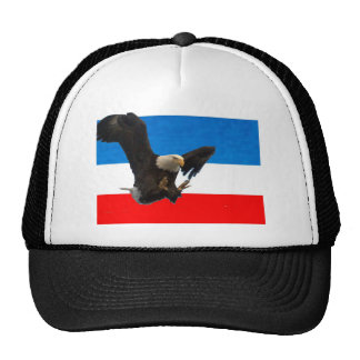 RED WHITE AND BLUE EAGLE LANDING TRUCKER HAT