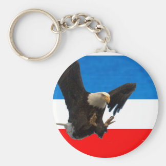 RED WHITE AND BLUE EAGLE LANDING KEYCHAIN