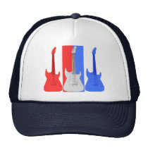 Red White and Blue Electric Guitars Hat at Zazzle
