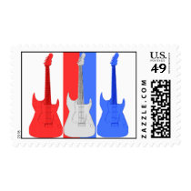 Red White and Blue Electric Guitars Postage Stamp at Zazzle