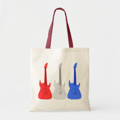 Red White And Blue Electric Guitars Tote Bag at Zazzle