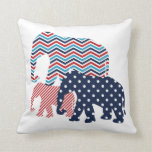 Red, White, and Blue Elephants Throw Pillow