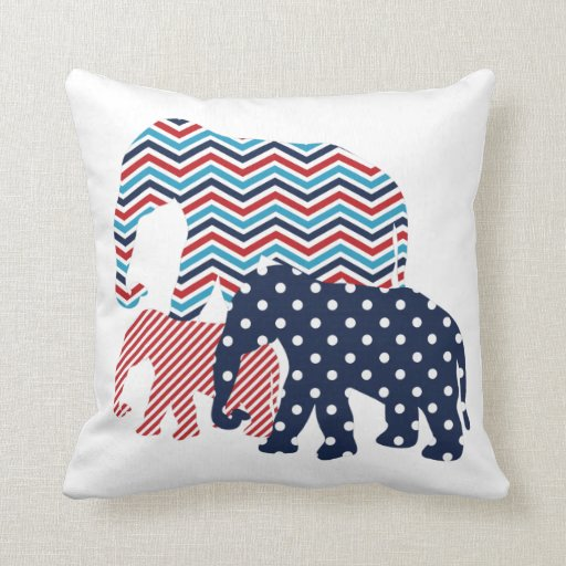 red white and blue elephants throw pillow