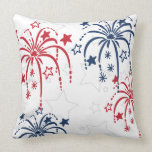 Red White and Blue Fireworks 4th of July Pillow