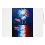 red, white and blue fireworks greeting cards