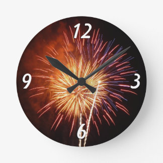 Red, White and Blue Fireworks I Patriotic Round Clock