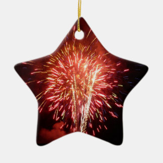 Red, White and Blue Fireworks II Patriotic Ceramic Ornament