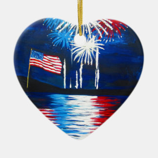 red, white and blue fireworks christmas tree ornaments