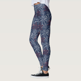 Red White and Blue Fireworks Pattern Leggings