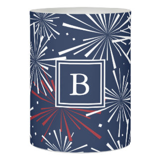Red, White and Blue Fireworks Pattern Monogram Flameless Candle
