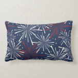 Red White and Blue Fireworks Pattern Throw Pillow