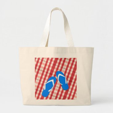 Beach Themed Red, White And Blue Flip Flops Large Tote Bag
