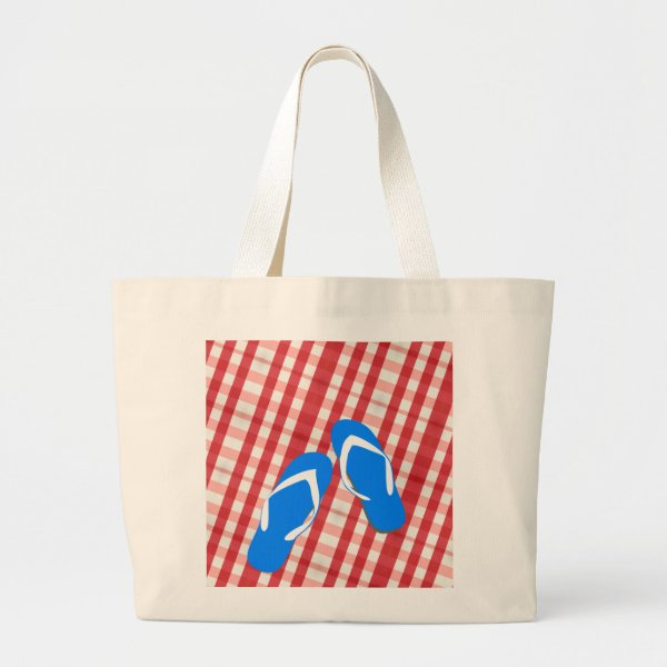 Red, White And Blue Flip Flops Large Tote Bag
