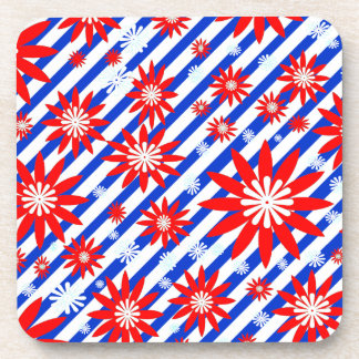 Red White and Blue  Flower Design Coaster