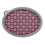 Red White and Blue Flower Patchwork Quilt Pattern Oval Belt Buckle