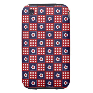 Red White and Blue Flower Patchwork Quilt Pattern iPhone 3 Tough Cover