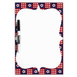 Red White and Blue Flower Patchwork Quilt Pattern Dry-Erase Whiteboard