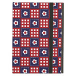 Red White and Blue Flower Patchwork Quilt Pattern iPad Covers