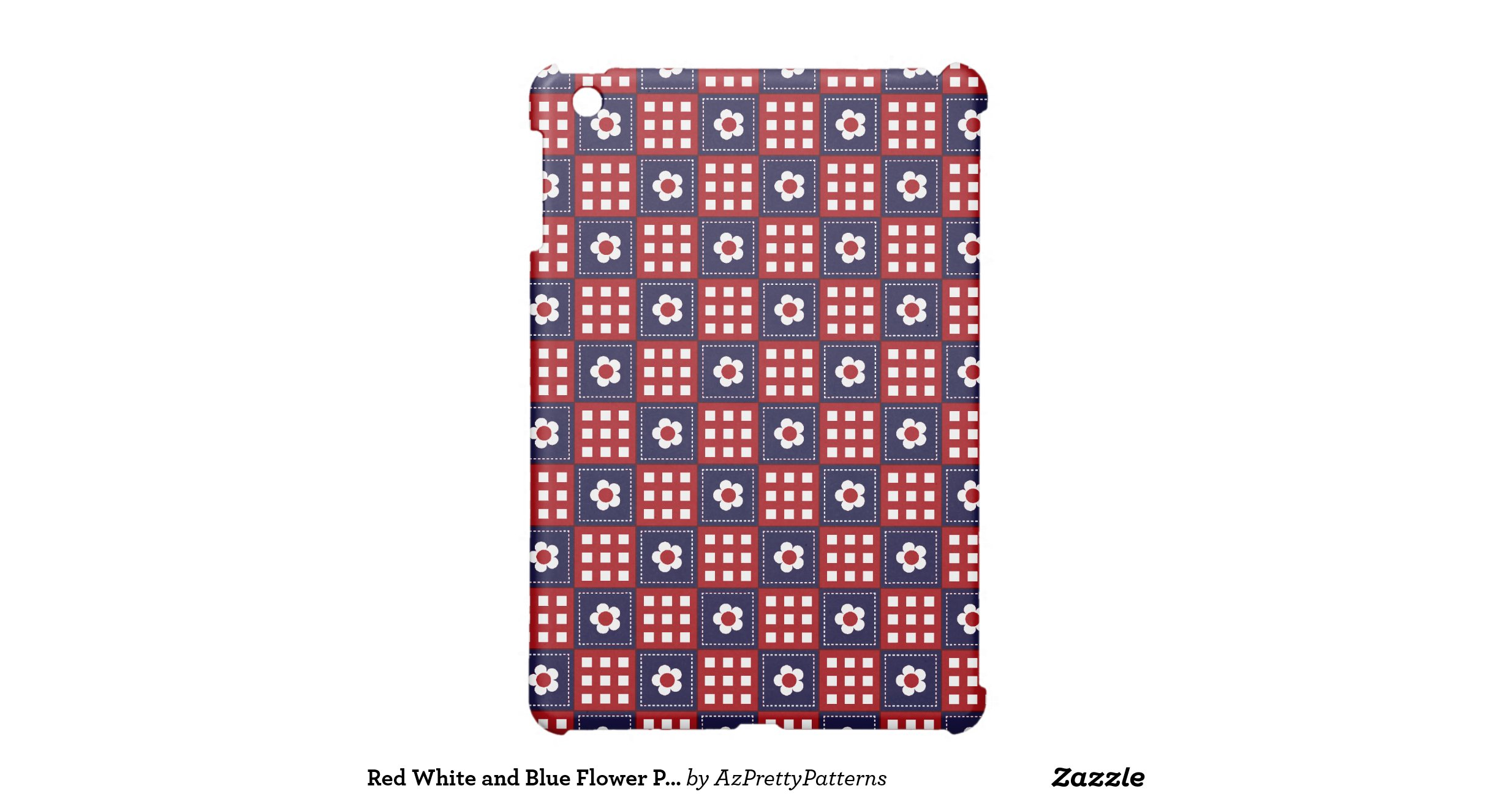 red_white_and_blue_flower_patchwork_quilt_pattern_ipad_mini_case ...