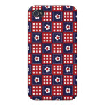 Red White and Blue Flower Patchwork Quilt Pattern Cases For iPhone 4