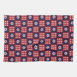 Red White and Blue Flower Patchwork Quilt Pattern Hand Towel