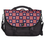 Red White and Blue Flower Patchwork Quilt Pattern Laptop Computer Bag