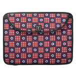Red White and Blue Flower Patchwork Quilt Pattern Sleeve For MacBook Pro