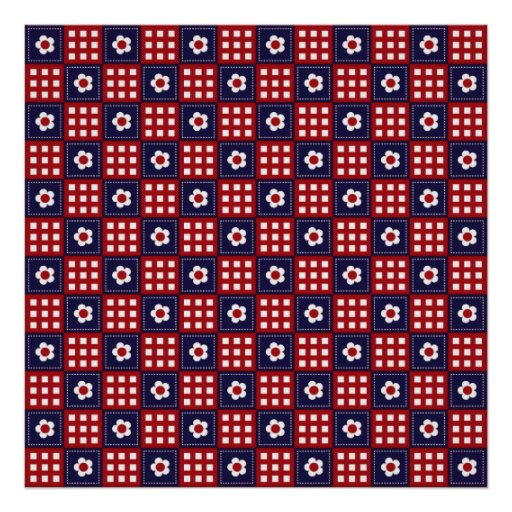 Red White and Blue Flower Patchwork Quilt Pattern Posters