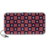 Red White and Blue Flower Patchwork Quilt Pattern iPhone Speaker