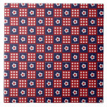 Red White and Blue Flower Patchwork Quilt Pattern Ceramic Tiles