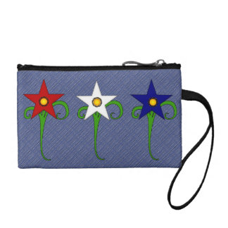 Red, White, and Blue Flowers Coin Wallets