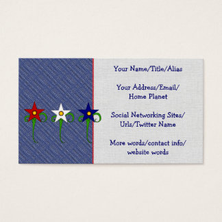 Red, White, and Blue Flowers Business Card