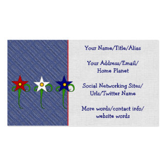 Red, White, and Blue Flowers Business Card Template