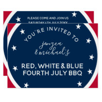 Red White and Blue Fourth July BBQ Invitation