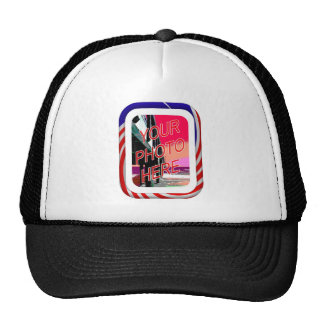 Red White and Blue Frame Trucker Hat