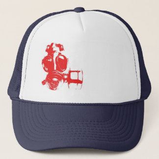 Red White and Blue Gas Mask Trucker Hat