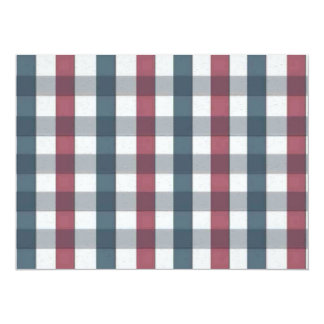 """Red White and Blue Gingham Plaid 5.5"""" X 7.5"""" Invitation Card"""