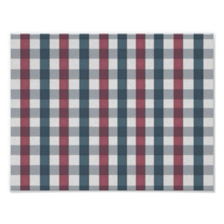 Red White and Blue Gingham Plaid Poster
