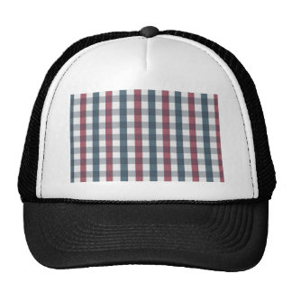 Red White and Blue Gingham Plaid Trucker Hat