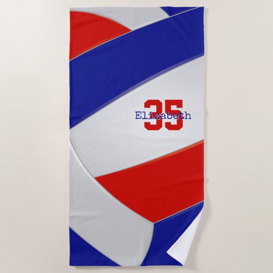 red white and blue girls volleyball personalized beach towel