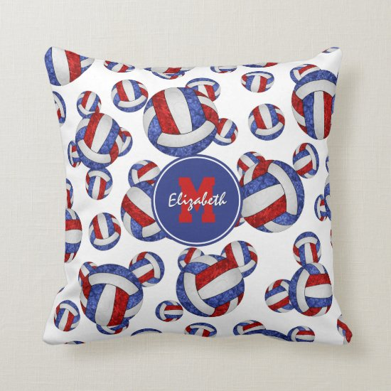 red white and blue girly volleyballs pattern throw pillow