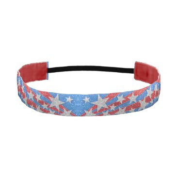 Red White and Blue Glitter American Stars Stripes Athletic Headband