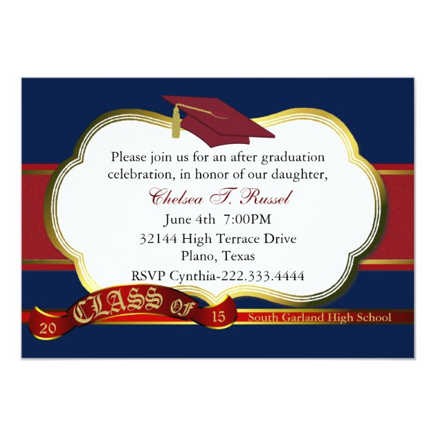 red  white  and blue graduation party invitation