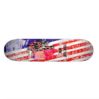 Red White and Blue Grunge Template Skateboard