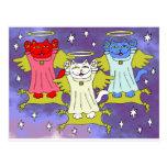 Red, White, and Blue Guardian Angel Nekos Postcard